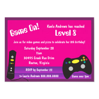 """Girl's Video Game Truck Birthday Party 4.5"""" X 6.25"""" Invitation Card"""