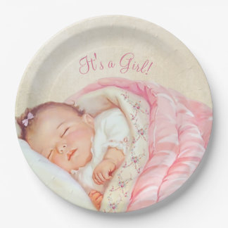 Girls Vintage Baby Shower Paper Plate