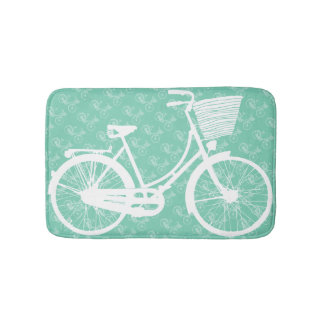 Girl's Vintage Modern Mint Bicycle Bathroom Mat