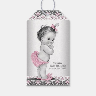 Girls Vintage Pink Black Baby Shower Pack Of Gift Tags