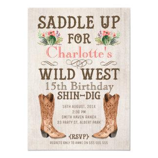Girls Vintage Wild West Birthday Invitation