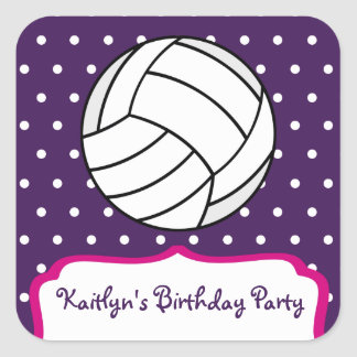 Girl's Volleyball Birthday Party - Purple W Pink Square Sticker