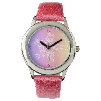 Girls Watch custom pink snowflakes sparkle