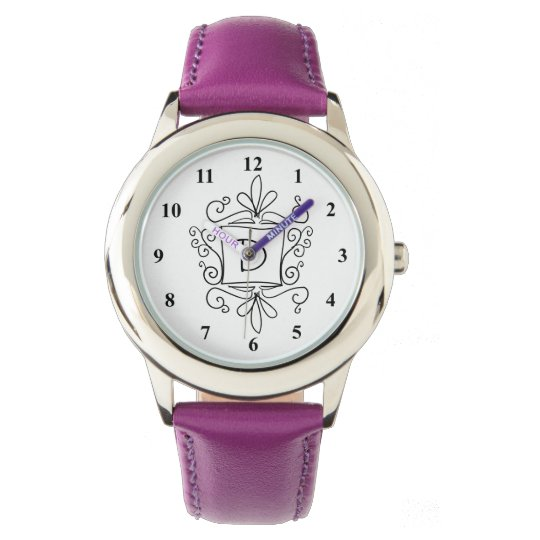 Girl's watch with cute swirly border name monogram