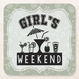 Girls Weekend Bachelorette Party Ladies Getaway Square Paper Coaster