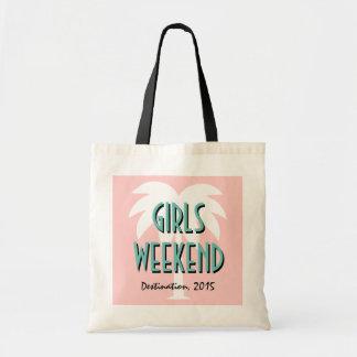 Girls weekend tote bag | Coral pink palm tree