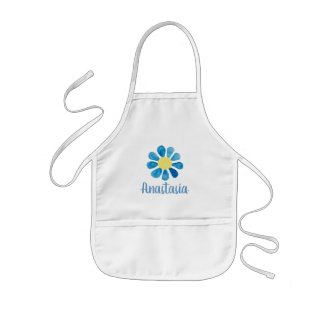 Girl's Whimsical Blue Forget Me Not Flower Name Kids Apron