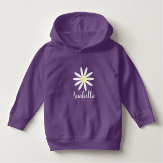 Girl's Whimsical Cute Daisy Flower with Name Hoodie