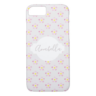 Girl's Whimsical Cute Pink Flower with Name iPhone 8/7 Case