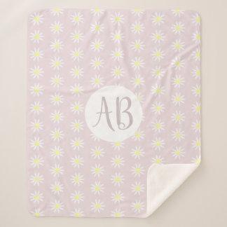 Girls Whimsical Pink Daisy Flower Pattern Monogram Sherpa Blanket