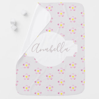 Girl's Whimsical Pink Flower Pattern with Name Baby Blanket