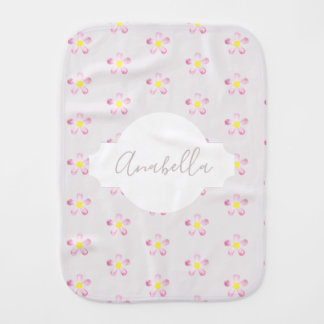 Girl's Whimsical Pink Flower Pattern with Name Burp Cloth