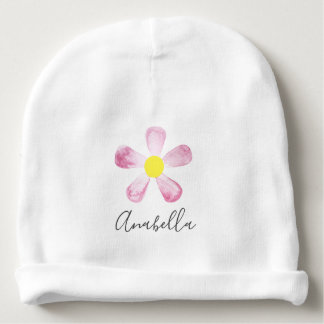 Girl's Whimsical Pink Watercolor Flower with Name Baby Beanie
