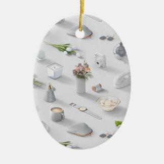 Girl's White Dream Ceramic Oval Ornament