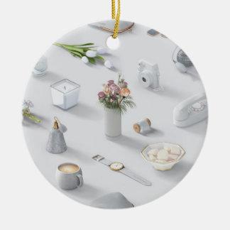 Girl's White Dream Round Ceramic Ornament