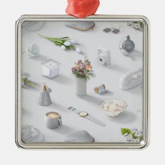 Girl's White Dream Silver-Colored Square Ornament