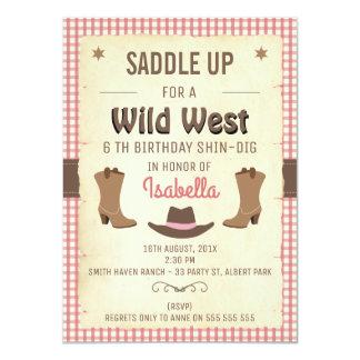 Girls Wild West Birthday Party Invitation