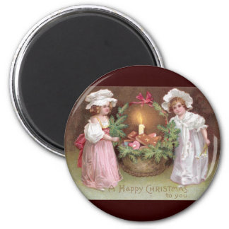 Girls with Basket of Christmas Cookies Vintage Magnet