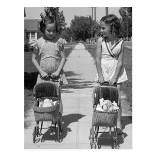 Girls with Dolls, 1941 Postcard
