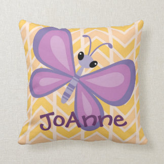 Girls Yellow Chevron Butterfly Name Pillow