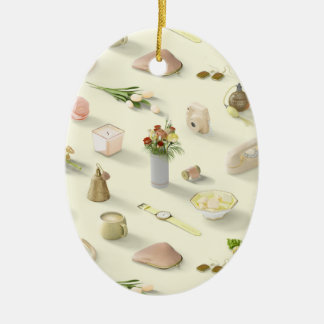 Girl's Yellow Dream Ceramic Oval Ornament