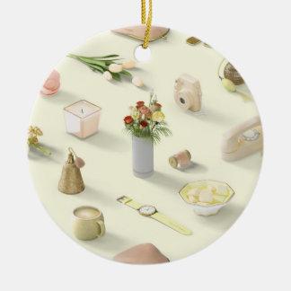 Girl's Yellow Dream Round Ceramic Ornament