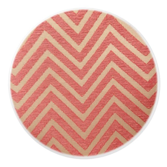 Girls ZigZag Pink Ceramic Knob
