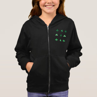 Girl's zip hoodie with watercolor clover leaves