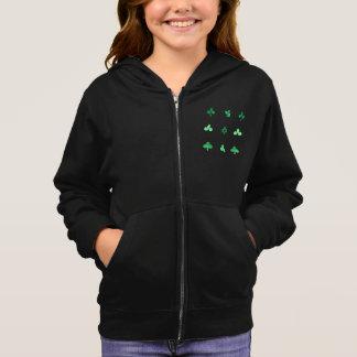 Girl's zip hoodie with watercolor clover leaves
