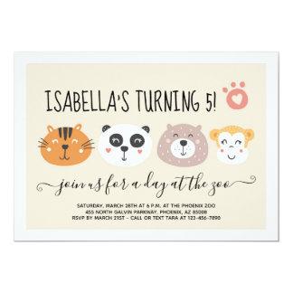 Girls Zoo Animal Emoji Theme Birthday Party Card