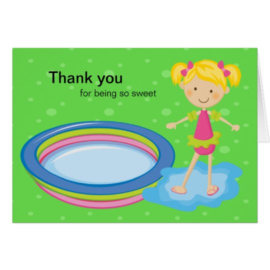 Girlss Pool Party Thank You Card