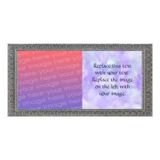 Girly Abstract in Soft Purple and Blue Personalized Photo Card