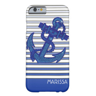Girly Anchor Nautical Sailing Boat Ombre Stripes Barely There iPhone 6 Case