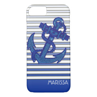Girly Anchor Nautical Sailing Boat Ombre Stripes Case-Mate iPhone Case