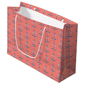 Girly anchor pattern large gift bag