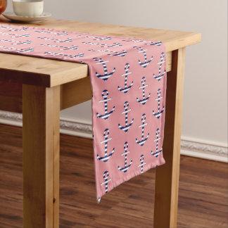 Girly anchor pattern short table runner