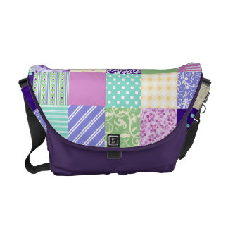Girly and Fresh Pattern Squares Vector Quilt Courier Bag
