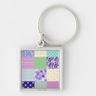 Girly and Fresh Pattern Squares Vector Quilt Silver-Colored Square Keychain