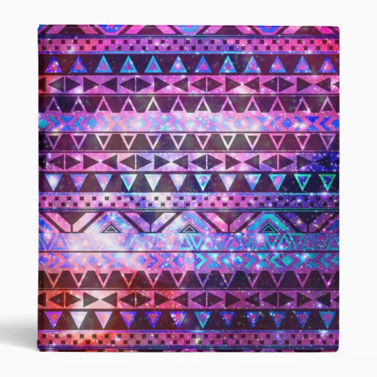 Girly Andes Aztec Pattern Pink Teal Nebula Galaxy Binder