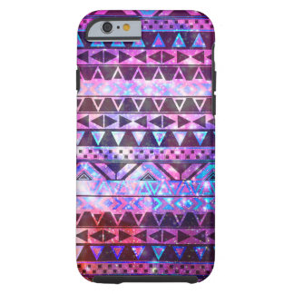 Girly Andes Aztec Pattern Pink Teal Nebula Galaxy Tough iPhone 6 Case