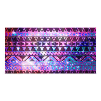 Girly Andes Aztec Pattern Pink Teal Nebula Galaxy Personalized Photo Card