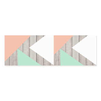 Girly Apricot Teal Gray Wood Modern Color Block Business Card Templates