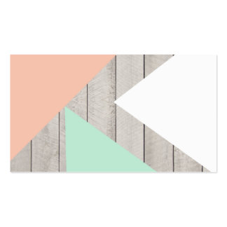 Girly Apricot Teal Gray Wood Modern Color Block Pack Of Standard Business Cards