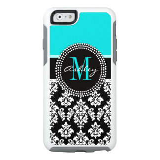 Girly Aqua Black Damask Your Monogram Name OtterBox iPhone 6/6s Case