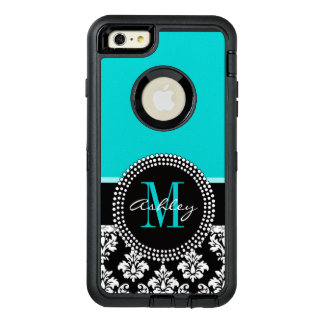 Girly Aqua Black Damask Your Monogram Name OtterBox iPhone 6/6s Plus Case