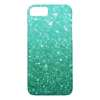 Girly Aqua Blue Faux Glitter Pattern iPhone 7 Case