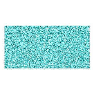 Girly Aqua Blue Glitter Printed Customized Photo Card