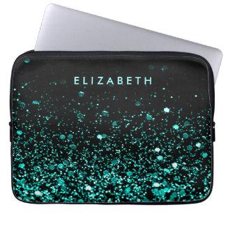 Girly Aqua Blue Teal Green Glitter Black Sleeve Laptop Computer Sleeves