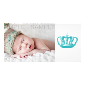Girly Aqua Blue Vintage Crown Custom Photo Card