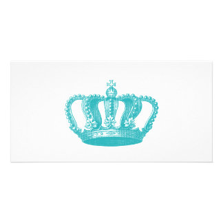 Girly Aqua Blue Vintage Crown Photo Cards